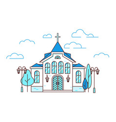 line art house christian church with trees vector image