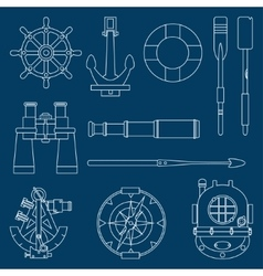 Line flat marine icons set Nautical design vector