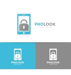 Lock and phone logo combination Padlock vector
