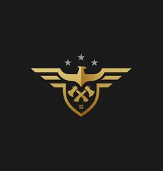 logo american eagle builder badge style vector image