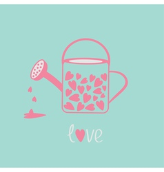 Love watering can with hearts inside Pink and blue vector