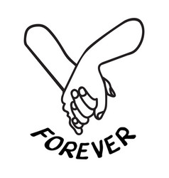 lovely couple holding hands promise icon vector image