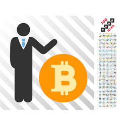 Manager show bitcoin coin flat icon with bonus vector