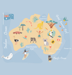 Map of australia with landmarks and wildlife vector