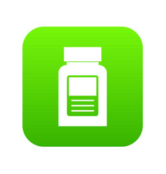 Medicine bottle icon digital green vector