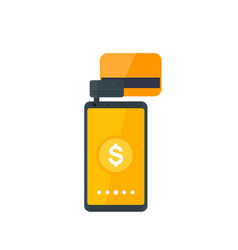 mobile terminal pay with card and smartphone vector image