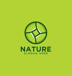 Nature leaf circle logo design template vector