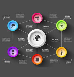 Network infographic black template for vector