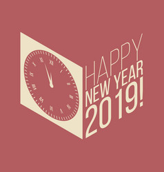 New year isometric retro banner with reflections vector