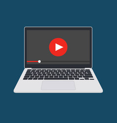 online video player on laptop vector image