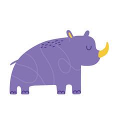 purple rhino animal cartoon doodle color vector image
