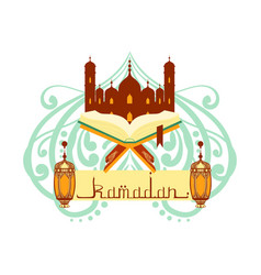 ramadan greeting card with arabic calligraphy vector image