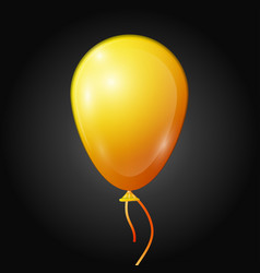 Realistic yellow balloon with ribbon isolated vector