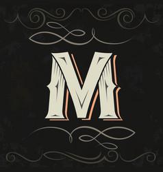 Retro style western letter design letter m vector