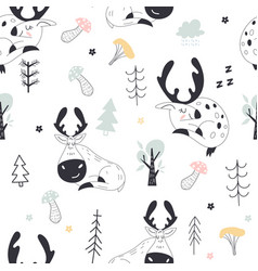seamless childish pattern with deers and moose vector image