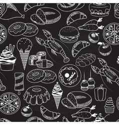 Seamless Food on Chalkboard Background vector image