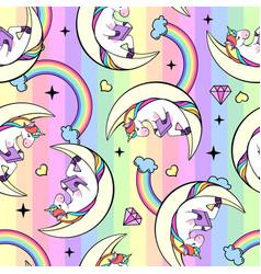 seamless pattern fantasy unicorn reading book vector image
