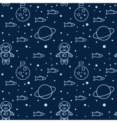 Seamless pattern with cat in space the moon vector