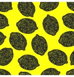 Seamless pattern with lemons scribbles vector image