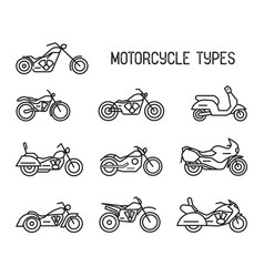 set different types mototechnics vector image