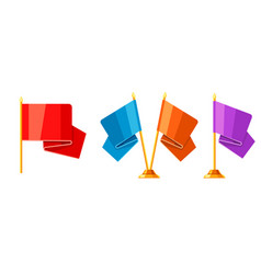 set of colored flags on stand vector image