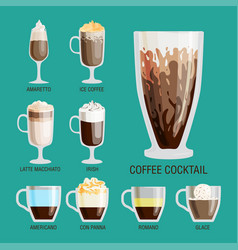 Set of different transparent cups of coffee types vector