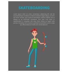 skateboarding poster young skateboarder skateboard vector image