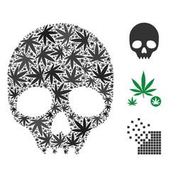 Skull collage of hemp leaves vector