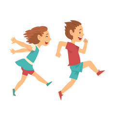 Smiling boy and girl running together happy kids vector