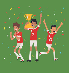 soccer players winning vector image