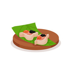 sushi with red and black caviar on green leaf and vector image
