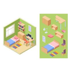 teenagers room isometric bedroom concept vector image