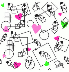 the pattern hearts on background geometry vector image