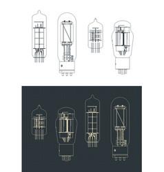 Vacuum tube set drawings vector
