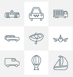 Vehicle icons line style set with air balloon van vector