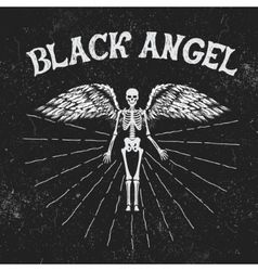Vintage label with black angel vector
