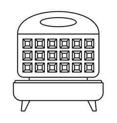 Waffle cooker icon outline style vector