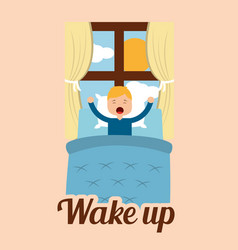 wake up little boy in bed and window sun day vector image