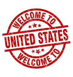 Welcome to united states red stamp vector