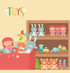wooden shelf and cardboard box with various toys vector image