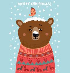 bear christmas card vector image