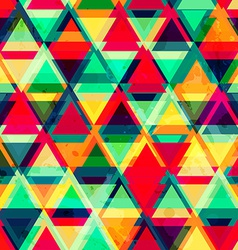 hipster triangle seamless pattern with grunge vector image