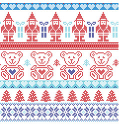 Blue and red Scandinavian inspired Nordic xmas sea vector image vector image