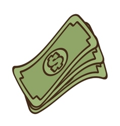 cartoon stack money dollar bills cash vector image vector image
