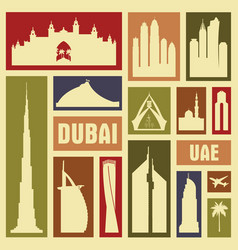 dubai uae city icon symbol silhouette set vector image vector image