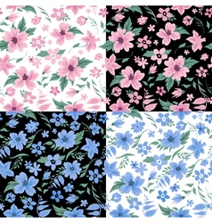 Floral Background Set Flowers Seamless Pattern vector image vector image