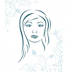 floral background with girl face vector image vector image