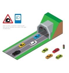 Interior of an urban walkway tunnel road Tunnel vector image