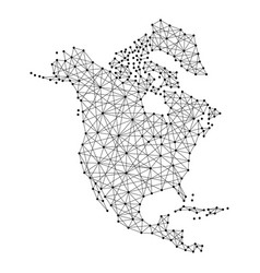 map of north america from polygonal black lines vector image