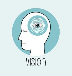 profile human head vision brain vector image